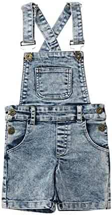 c20b26a40ac5 Kids Baby Boys Girls Denim Bib Pants Overalls Jean Outfits Sleeveless Back  Cross Denim Shorts
