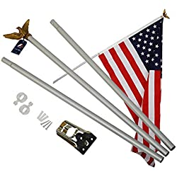 A-ONE 6 FT Aluminum Flag pole Kit, American US FlagPole with Golden Eagle Topper, Metal Bracket Free & Hardware for Outdoor Residential or Commercial Wall Mount, Rust-Proof, 3-Sections, Silver
