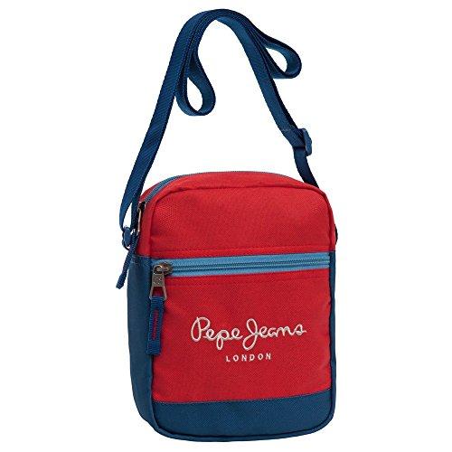 Pepe Jeans Bicolor Boy Borsa Messenger, Poliestere, Rosso, 21 cm