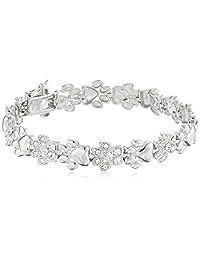 """Rhodium Plated Sterling Silver White Swarovski Crystal Dog Paw Bracelet, 7.25"""""""