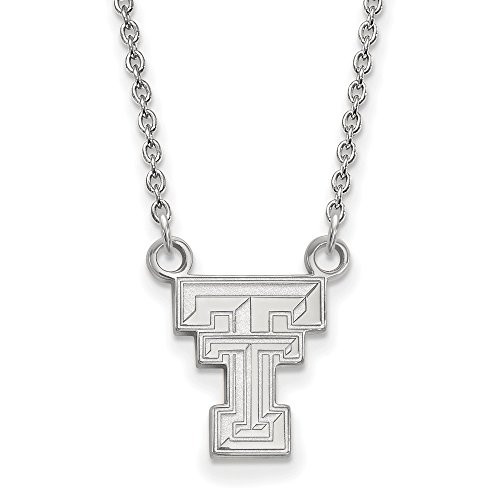 Texas Tech Small (1/2 Inch) Pendant w/Necklace (Sterling Silver) - Silver Sterling Logo Necklace