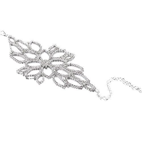 Bridal Upper Arm Bracelet Crystal Hollow Flower Silver Tone Upper Victorian Filigree Armlet Bridal Armband Adjustable Boho Armband Upper Arm Cuff (silver) ()