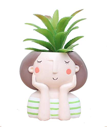 - WISH HALLY WOOD Green Stripe Girl Succulent Planter Pots for Office House Balcony Landscape Creative Decorative Flower Pots (Green Stripe Girl)
