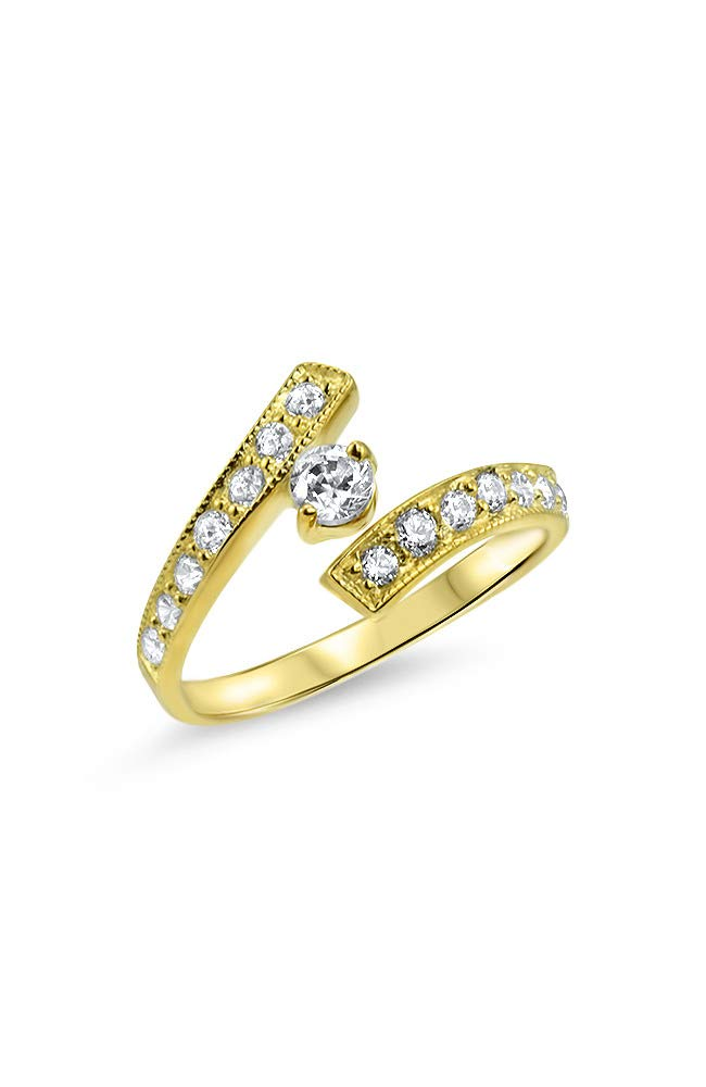 10k Yellow Gold Toe Ring Clear Clear CZ. Size Adjustable by Nose Ring Bling