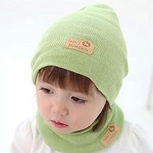 Regalo de Navidad, egmy bebé niños niñas niños Gorra + Bufanda traje caramelo coloreado Sombreros Sombrero