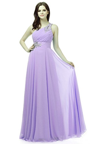 RohmBridal Women's One-shoulder Chiffon Evening Bridesmaid Dress Lavender 22