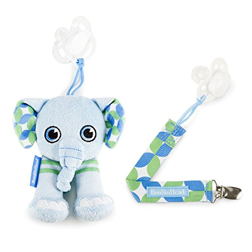 orn, PaciPal and PaciGrip Pacifier Clip, Holder, Toy, Teether, Soothie, Universal Loop, Plush, lovey, Elephant, Blue and Green 2 Piece Set ()