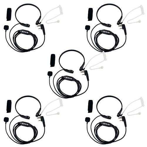Retevis 2 Pin Throat Mic Covert Acoustic Tube Earpiece with PTT Compatible with Baofeng UV-5R BF-888S Retevis H-777 RT22 RT21 RT27 H-777S Walkie Talkies (5 Pack)