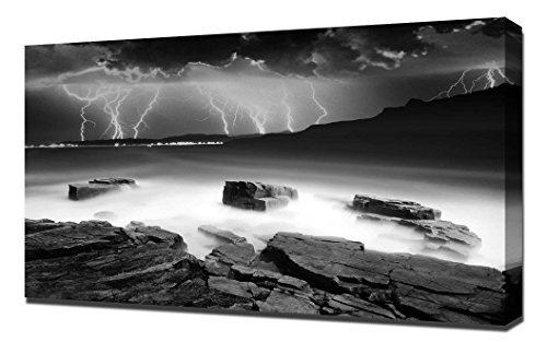 Black and White Beach-Storm - Canvas Art Print