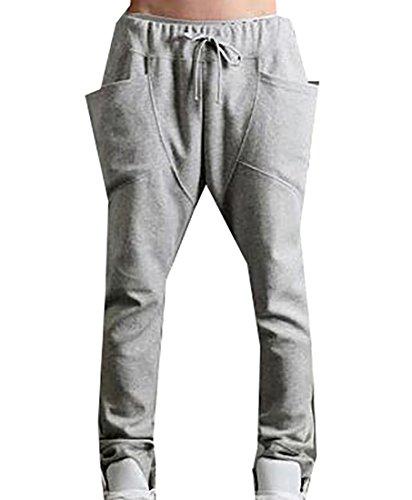 ARRIVE GUIDE Men's Pockects Hip Hop Outdoor Elastic Waist Pants Light Gray X-Large