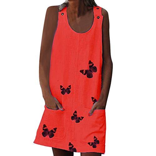 Women Sveless Shoulder Clasp Print Cotton and Linen di Dress Knee-Length with Pocket Sundress Red