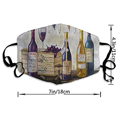 Face Mask Bottles Wine And Grapes On The Table Watercolor Fabulous Cycling Half Face Earloop Nose Mask For Girls