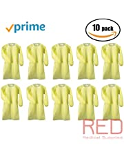 Isolation Gowns by PriMed, Overhead Fluid Resistant, Elastic Cuffs, AAMI Level 2 Gown, (10/Pack (10 Yellow Gowns)