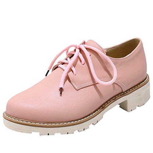 Mee Shoes Damen Niedrig Geschlossen Schnürhalbschuhe Pink