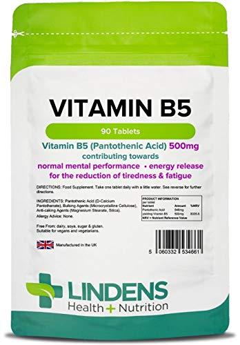 Lindens Vitamina B5 500 mg en comprimidos | 90 Paquete | Dosis del 8000 % de