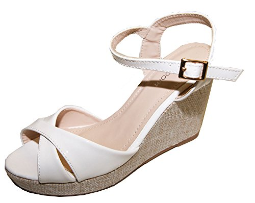Pierre-cedric Court Shoes Sandal Open Toe Polish Heel Wedge Cloths White 3V6lPRARaT