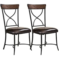 Hillsdale Furniture Cameron X-Back Dining Chairs, Chestnut Brown Finish, Set of 2