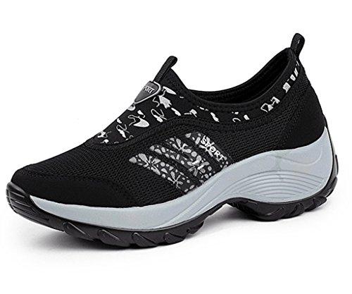 Dadawen Donna Slip-on Platform Allenamento Fitness Sneaker Nero (c)