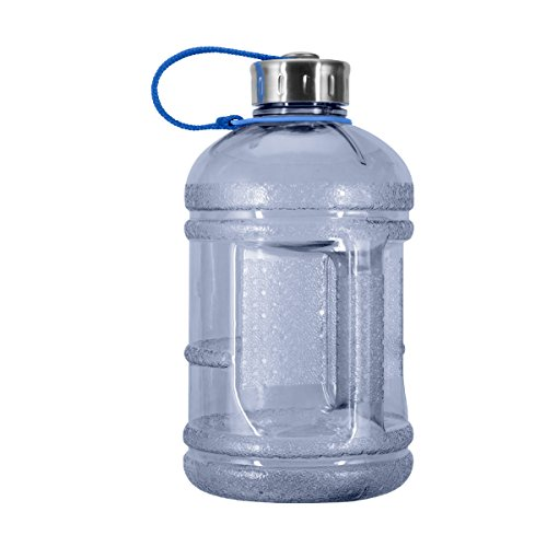 Oz Gallon Half - Geo Sports Bottles 1/2 Gallon (64 oz.) BPA Free Plastic Water Bottle w/ 48mm Steel Cap (Natural Blue)