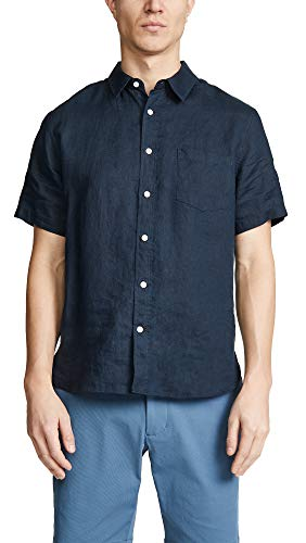 Vince Men's Linen Shirt, Coastal, Blue, Medium
