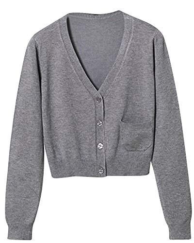 Gilet Basic V Cardigan Manches Longues Col Gilet Femme Gris Pull Mengmiao awYXn
