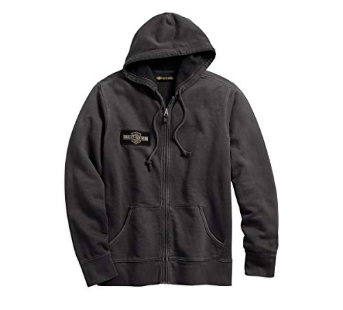 Harley-Davidson Official Men's Eagle Logo Slim Fit Hoodie, Steel Grey (Harley Davidson Designs)
