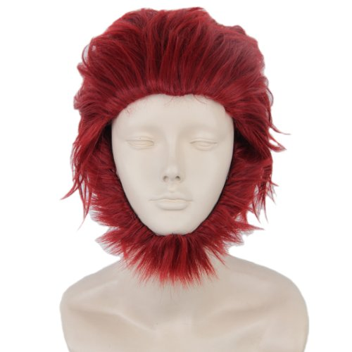 Angelaicos Mens Anime Cosplay Party Costume Hallowen Wig Short Red