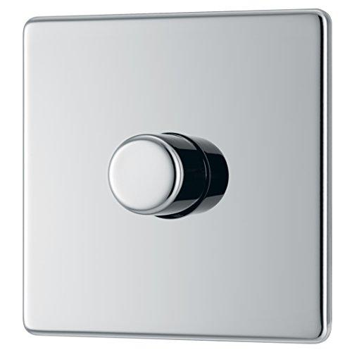 BG Electrical FPC81P-01 Screwless Flat Plate 400W 1 Gang 2 Way Push Dimmer Switch, 400 W, Polished Chrome
