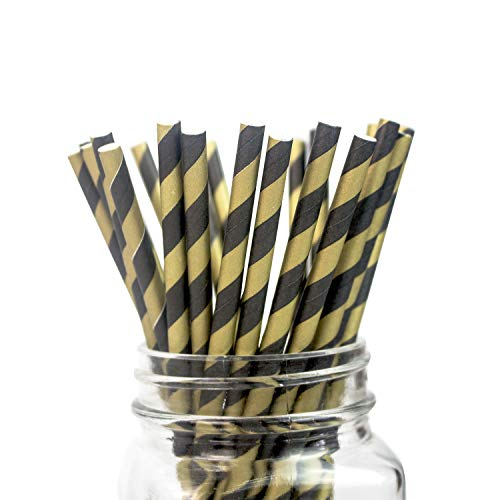 Black-gold Striped Paper Straws for Drinks - Box of 100-7.75 inches, Eco-friendly Paper Sticks for Cakepop, Candy Apple, Candy Apple, Dessert -
