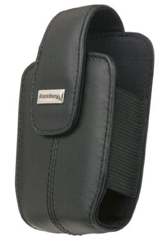 BlackBerry OEM Curve 8300, 8310, 8320, 8330 Lambskin Leather Holster with Swivel Belt Clip – Black Blackberry 8300 Curve Leather