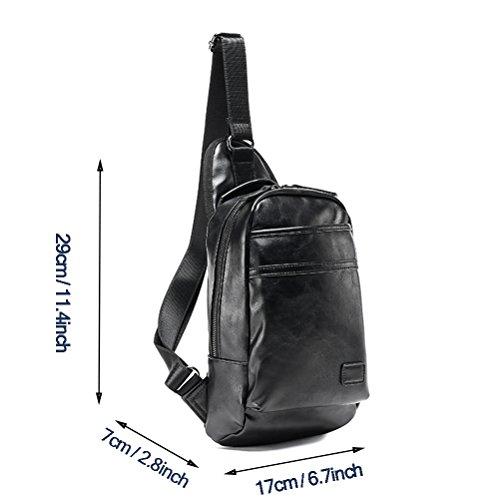 MINGMO Bolso De La Honda Bolso Bandolera para Los Hombres Crossbody Paquetes Triangulares Impermeable Cuero De La PU Ligero Gran Capacidad Casual Excursionismo Viajar Daypack