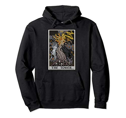 The Tower Tarot Card Halloween Tree of Life Goth Witch Gift  Pullover Hoodie -