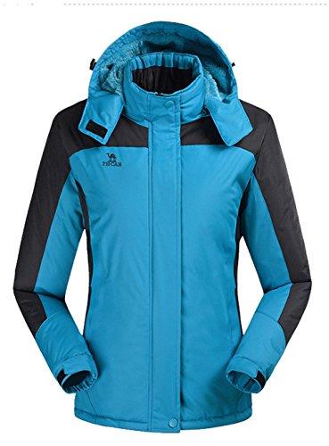Lottaway Warm Fleece Hooded Outdoor Hiking Ski-wear Anoraks Windbreaker Jacket Blue 3XL For Women by Lottaway®