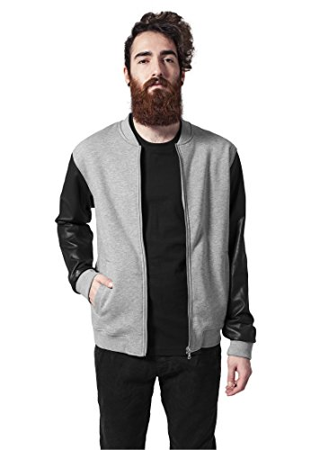 Urban Classics Zipped Leather Imitation Sleeve Jacket, Chaqueta para Hombre Multicolor (Gry/Blk/Gry 00726)