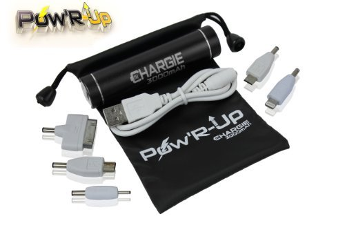 PowR-Up Chargie 3000mAh Mobile Cell Phone Charger, Meet Travel Power Bank Needs w/ Premium Samsung Portable Rechargeable Battery Chargers for Apple iPhone 5, 5S, 4S, iPad, iPod, Works w/ ATT, Veriazon Wireless, Virgin & Sprint Phones - Enjoy Freedom! by Pow'R-Up by Desertoasis International Marketing, LLC.
