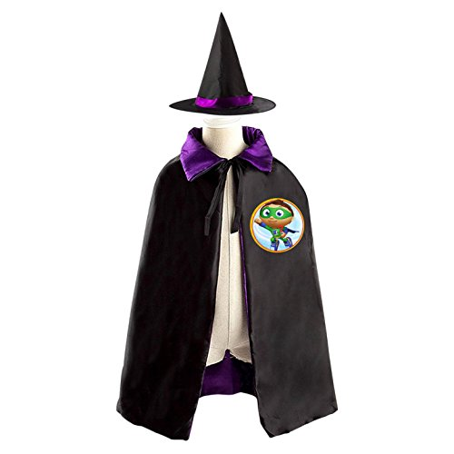 Super Why Pig Costume (SuperWhy Logo Kids Halloween Party Costume Cloak Wizard Witch Cape With Hat)