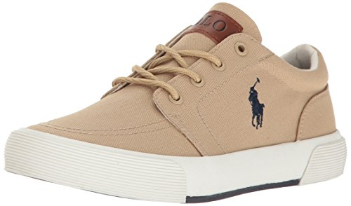 Canvas Khakis - Polo Ralph Lauren Boys' Faxon II Sneaker, Khaki Canvas, 1 Medium US Little Kid