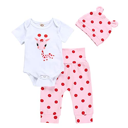 AILENFEISO Newborn Toddler Baby Girl Outfits Giraffe Bodysuit Top + Pink Legging Pants Set with Hat Infant Clothes (Giraffe Short, 0-3 Months) ()