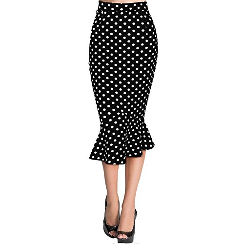 Skirt Blouse (OpenBeauty Women's Vintage High Waist Wear to Work Casual Fitted Mermaid Pencil Skirt (L, Black+White Polka)