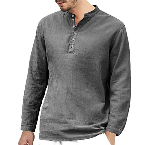 - NUWFOR Men's Baggy Cotton Linen Long Sleeve Button Retro V Neck T Shirts Tops Blouse(Gray,US XXL Chest:50.8