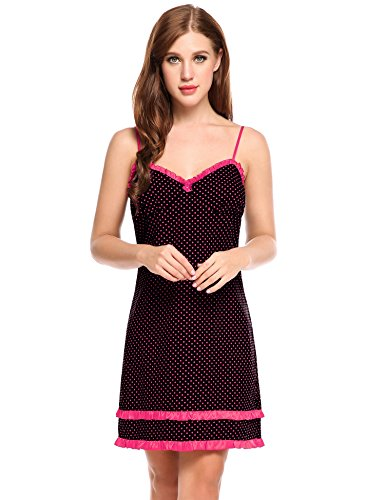 Ekouaer Womens Cotton Chemsie Nightgown Sexy Full Slip Under Dress With Ruffled (Cotton Ruffled Nightgown)