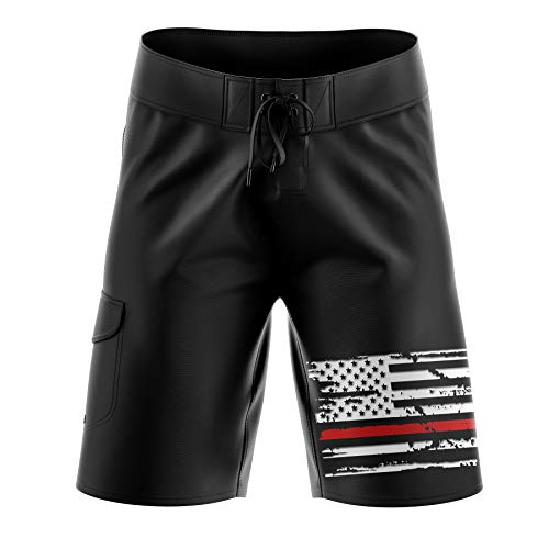 (Tactical Pro Supply USA American Red Line Flag Men's Board Shorts - 32)
