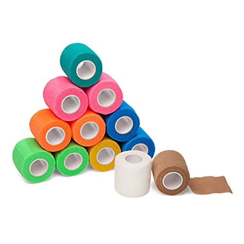 "Non Adhesive Tape - 12-Pack, 2"" x 5 Yards, Self-Adherent Cohesive Tape, Strong Sports Tape for Wrist, Ankle Sprains & Swelling, Self-Adhesive Bandage Rolls, FDA Approved, Assorted Neon Colors, by California Basics"