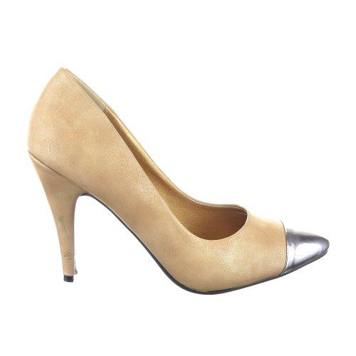Sopily - Zapatillas de Moda Tacón escarpín Stiletto Tobillo mujer metálico Talón Tacón de aguja alto 10 CM - Beige