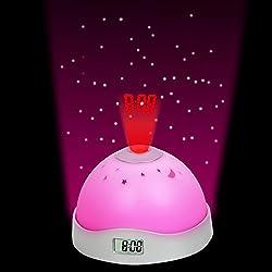 1pcs 2016 New Arrival MultiColor LED Magic Digital Multifunction Stars Projection Plastic Home Decor Alarm Clock