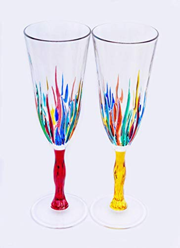 Murano Champagne Flutes, Fire Pattern, Set of 2 - Handmade Italian Glass (Painted Champagne Hand Flutes)