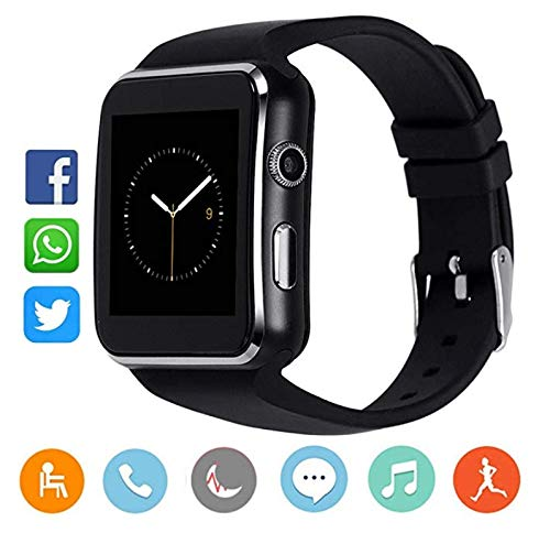 fbc1576db12a MY TECH X6 Smart Watch Pantalla táctil Bluetooth Inteligente Reloj teléfono  para Android iOS (Negro