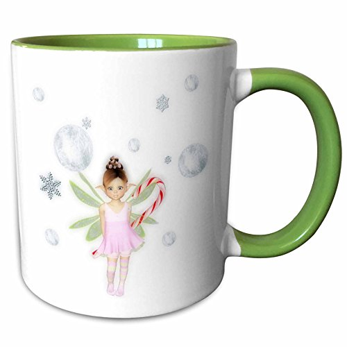 3dRose Renderly Yours Fairies - Cute Christmas Fairy With Snowflakes, Silver Balls And Candy Cane - 15oz Two-Tone Green Mug (mug_185390_12)