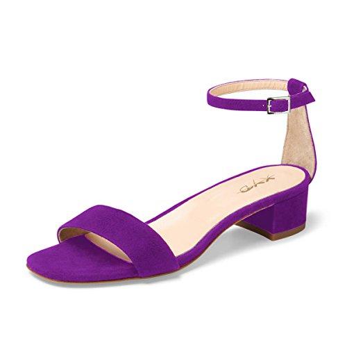 (XYD Women Open Toe Strappy Low Block Heel Sandal Pumps Ankle Strap Wedding Dress Shoes Size 9.5 Purple)