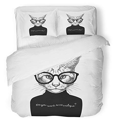 Emvency 3 Piece Duvet Cover Set Breathable Brushed Microfiber Fabric Head Portrait of Cat Look Like Critique Whose Wearing Glasses and Sweater Animal Fun Bedding Set with 2 Pillow Covers Twin Size by Emvency